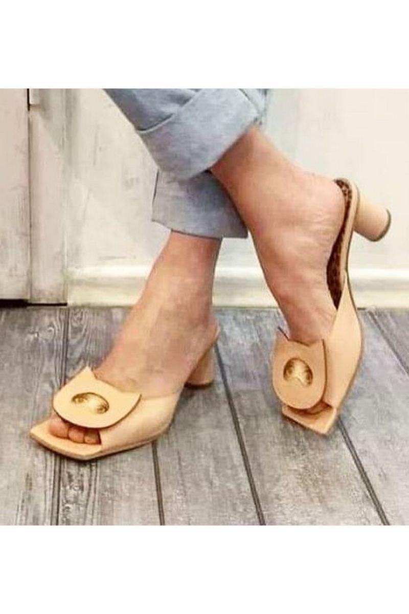 Buy Mules beige leather open square toe, heel slippers summer handmade original shoes