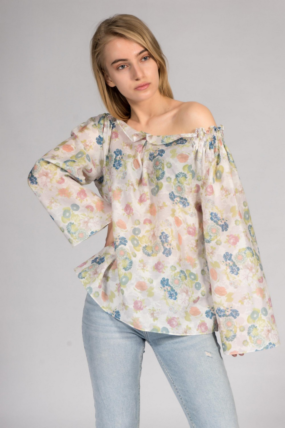 Buy Summer cotton floral pattern women blouse, Long sleeve blouse, Сomfortable casual ladies blouse