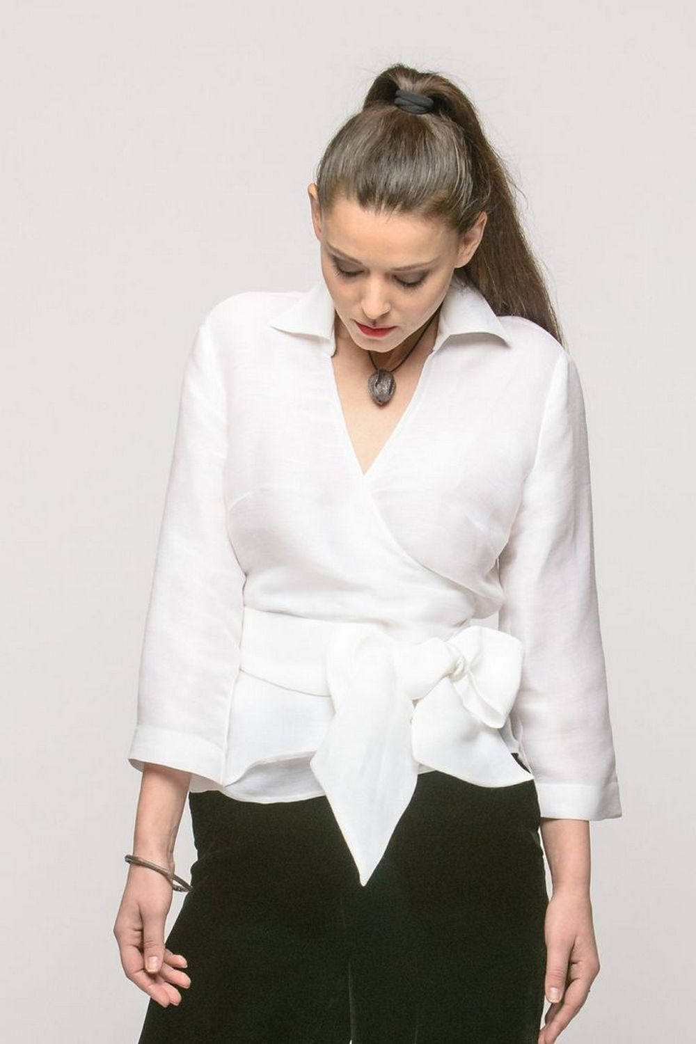 Buy Elegant silk white women`s blouse, Long sleeve V neck office casual blouse