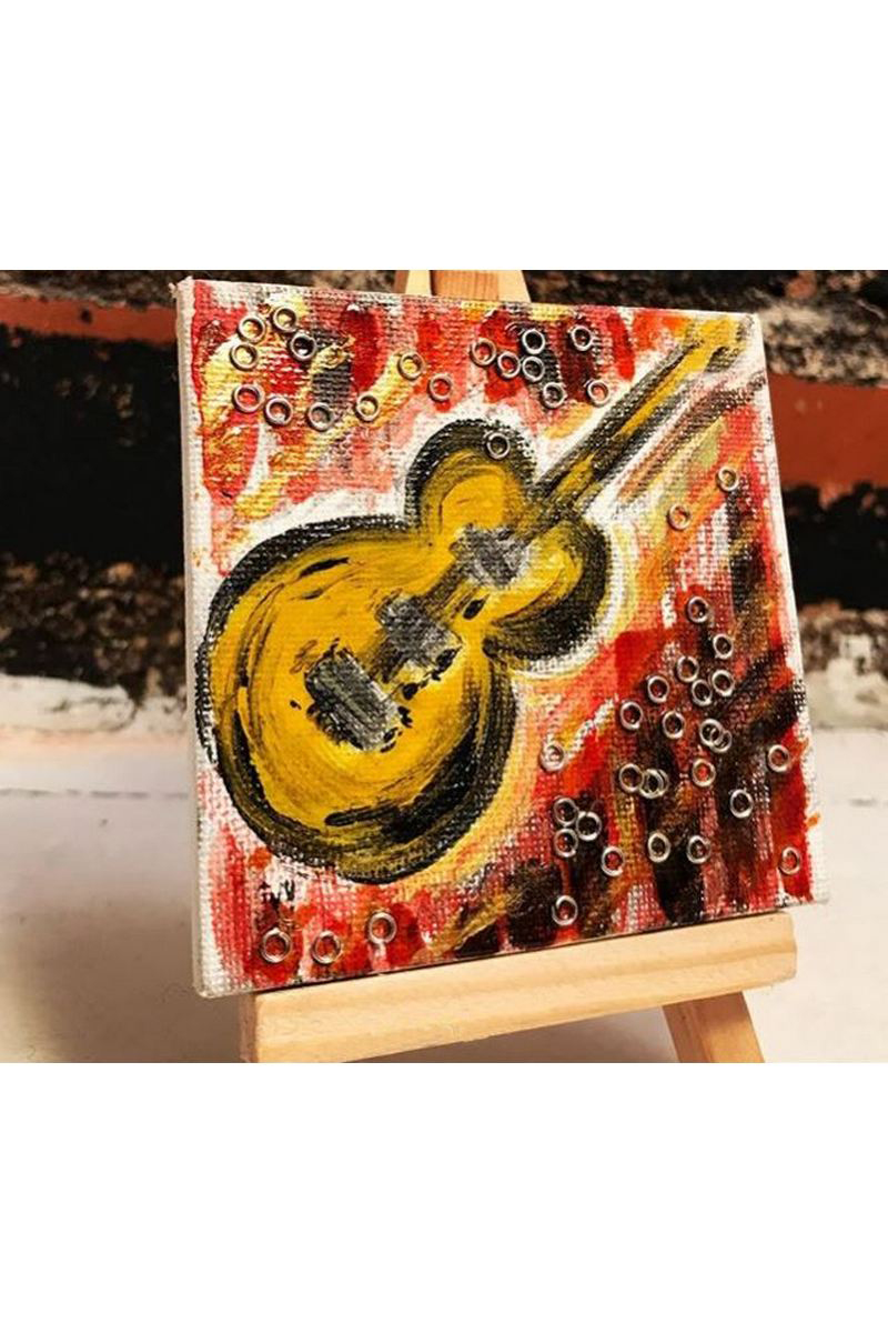 Buy Yellow guitar modern acrylic art, music mini canvas easel