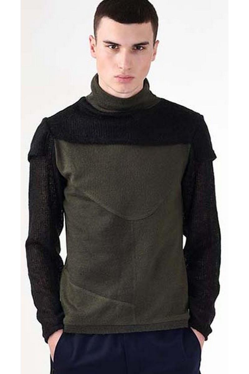 Buy BLACK / HAKI Wool warm Badlon, Men`s stylish casual party designer turtleneck
