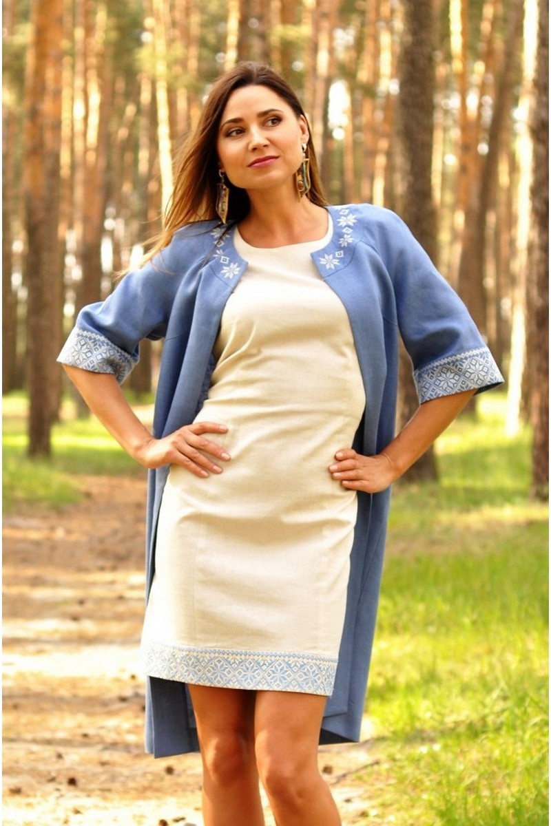 Buy Embroidered summer blue linen short sleeve women`s coat, unique elegant coat