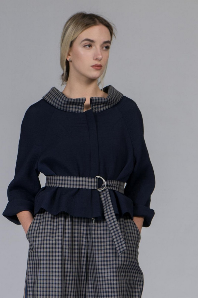 Buy Navy jacket cropped sleeves, Stylish women casual viscose zipper coat
