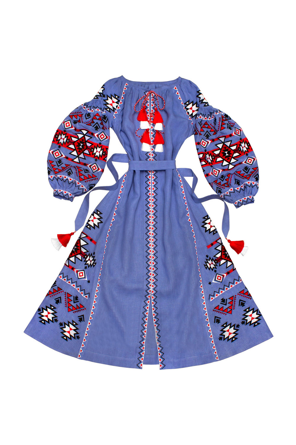 Buy Folk Festival Linen long Blue Ukrainian Vyshyvanka dress, Boho Hippie Comfortable embroidered dress