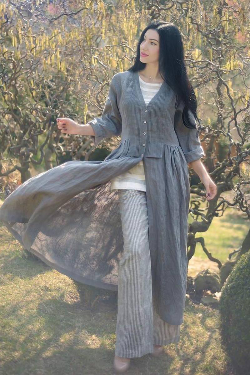 Buy Women's linen grey comfortable suit hand embroidered designer unique suit