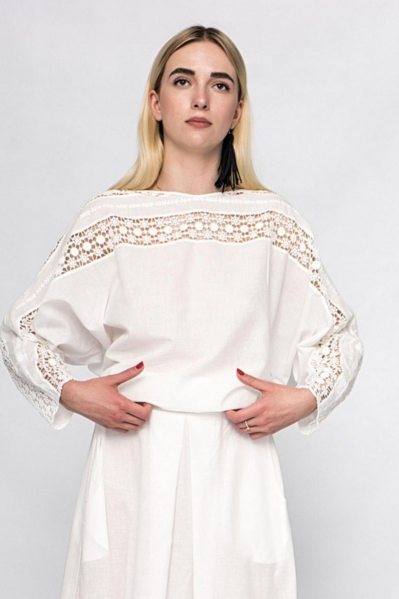Buy Summer cotton loose white lace blouse, Сomfortable casual ladies blouse