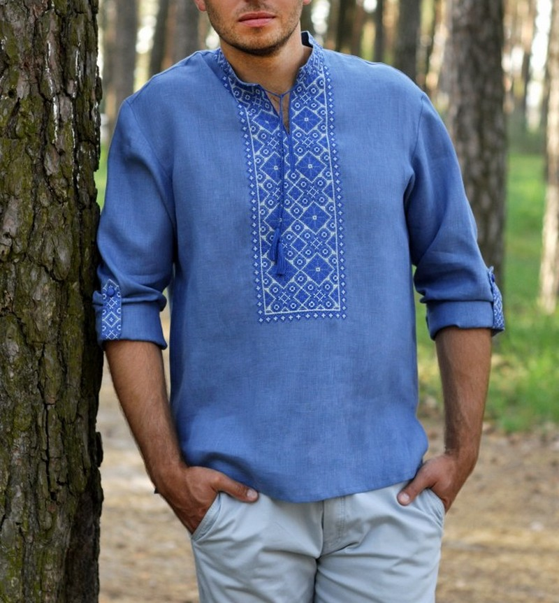 Buy Men's linen blue vyshivanka shirt, Summer Ukrainian Folk ethnic embroidery shirt with long sleeves