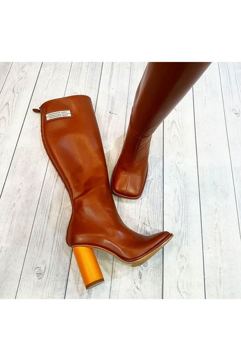 Buy Womens Fashion Heels Leather Brown Sexy High Boot  Lady High Heel  High-Tube Boot