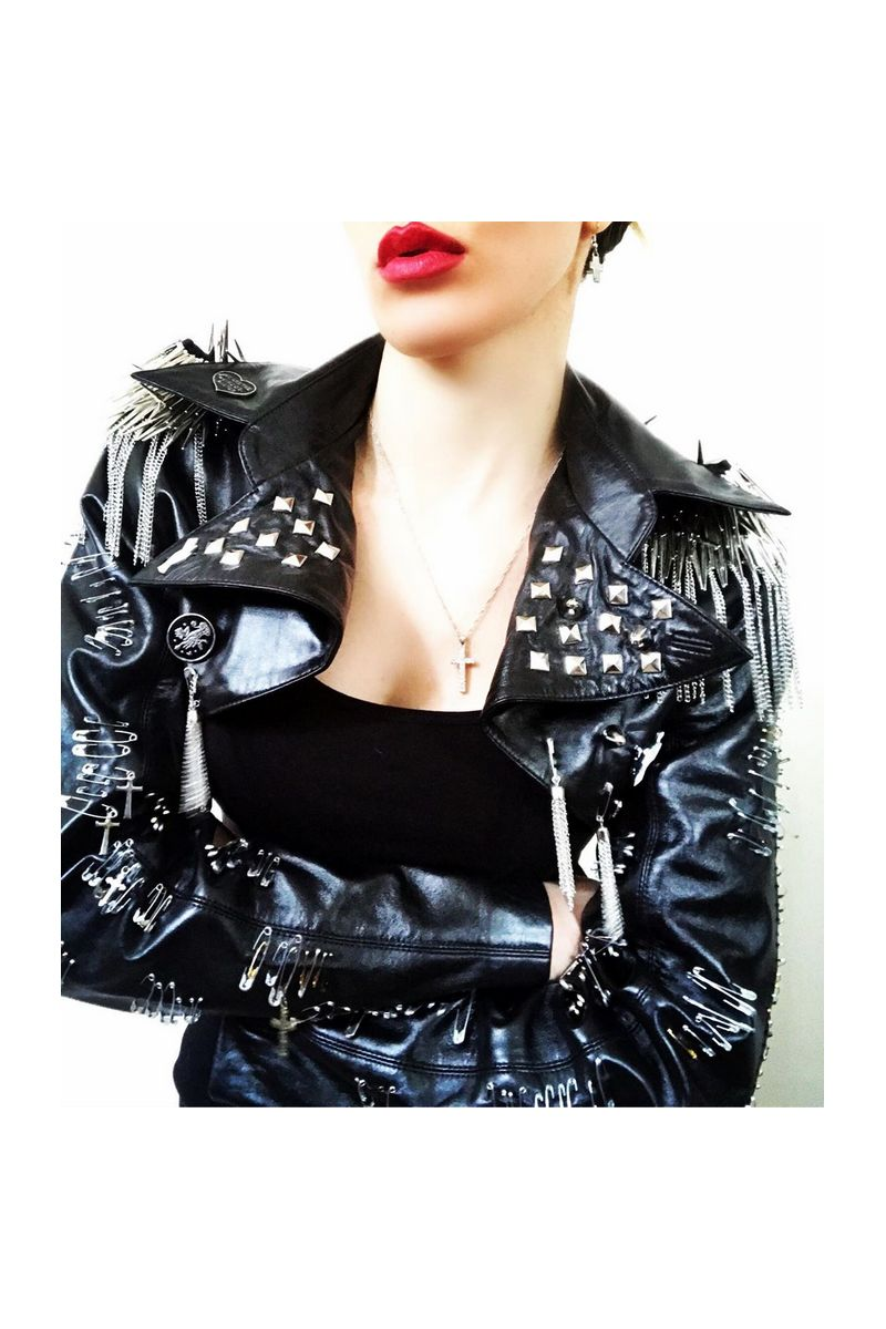 Buy Leather studded jacket, Handmade women black rock punk jacket, rocknroll clothes