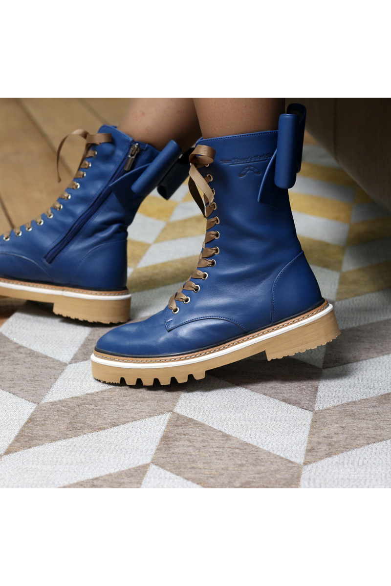 Buy Blue leather bows laces boots, Stylish military tractor outsole women handmade boots