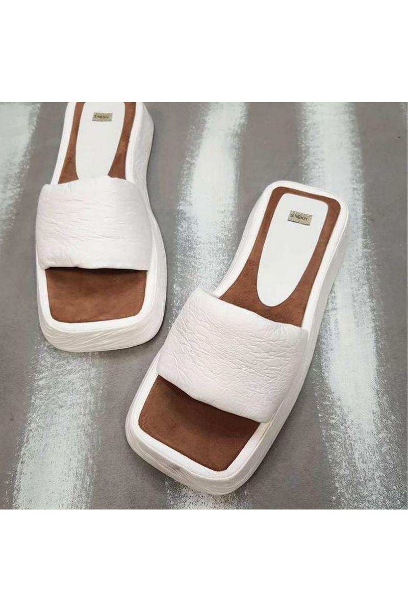 Buy Women's Summer White Leather Lightweight Comfort  Flat Flip Flop Square Toe Sandals