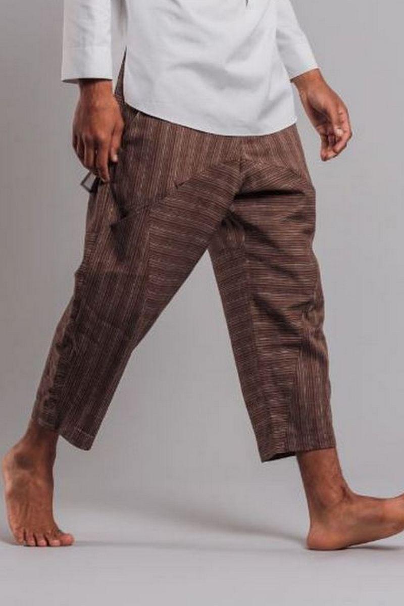 Buy Brown striped men`s free cut linen cotton capris with pockets
