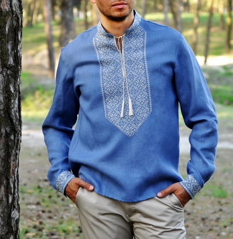 Buy Men's linen authentic blue vyshivanka shirt, Summer unique Ukrainian Folk ethnic embroidery shirt with long sleeves