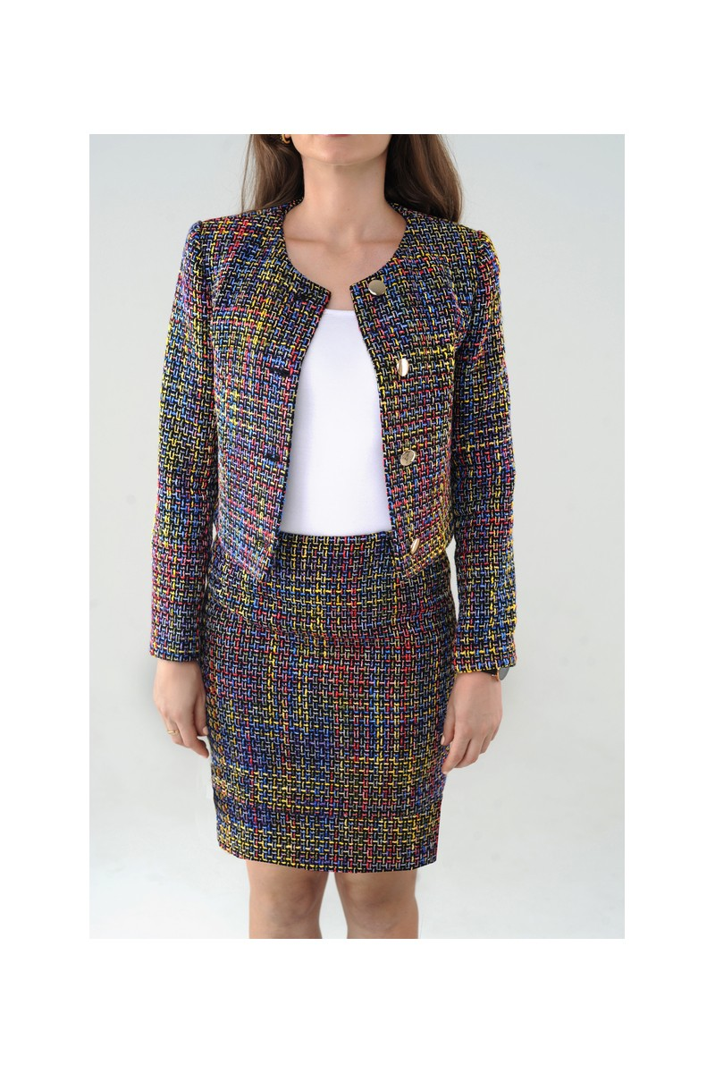 Buy Multicolor warm wool office business retro classic tweed women`s suit