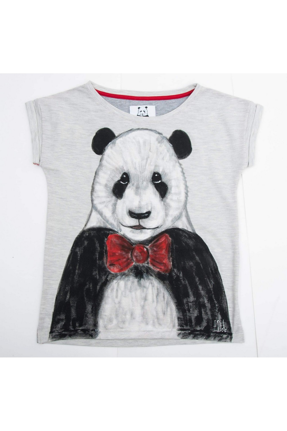 Buy Gray Cotton Short sleeve Print tee shirt , Panda tshirt, Unique stylish t shirt