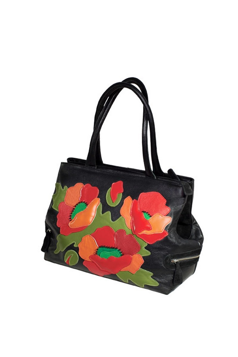 Buy Leather Suede Casual Black Flowers Poppies Business Women Handbag
