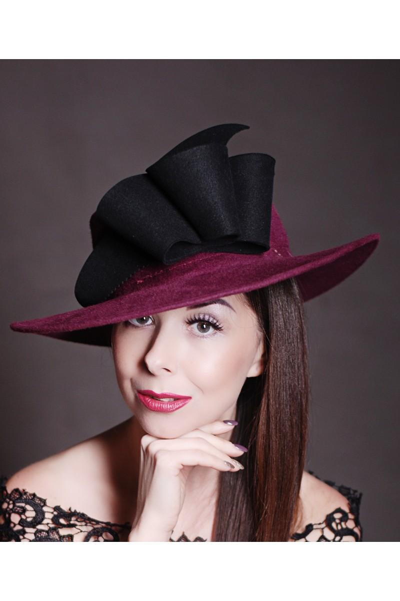 Buy Fedora felt stylish wool burgundy hat, Design wide brim decor hat outfit
