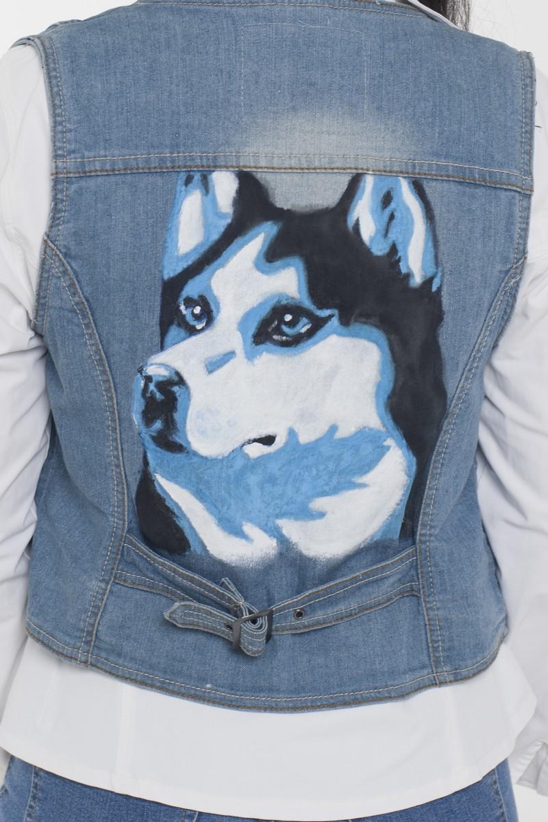 Blue casual women's jeans print stylish comfortable vest