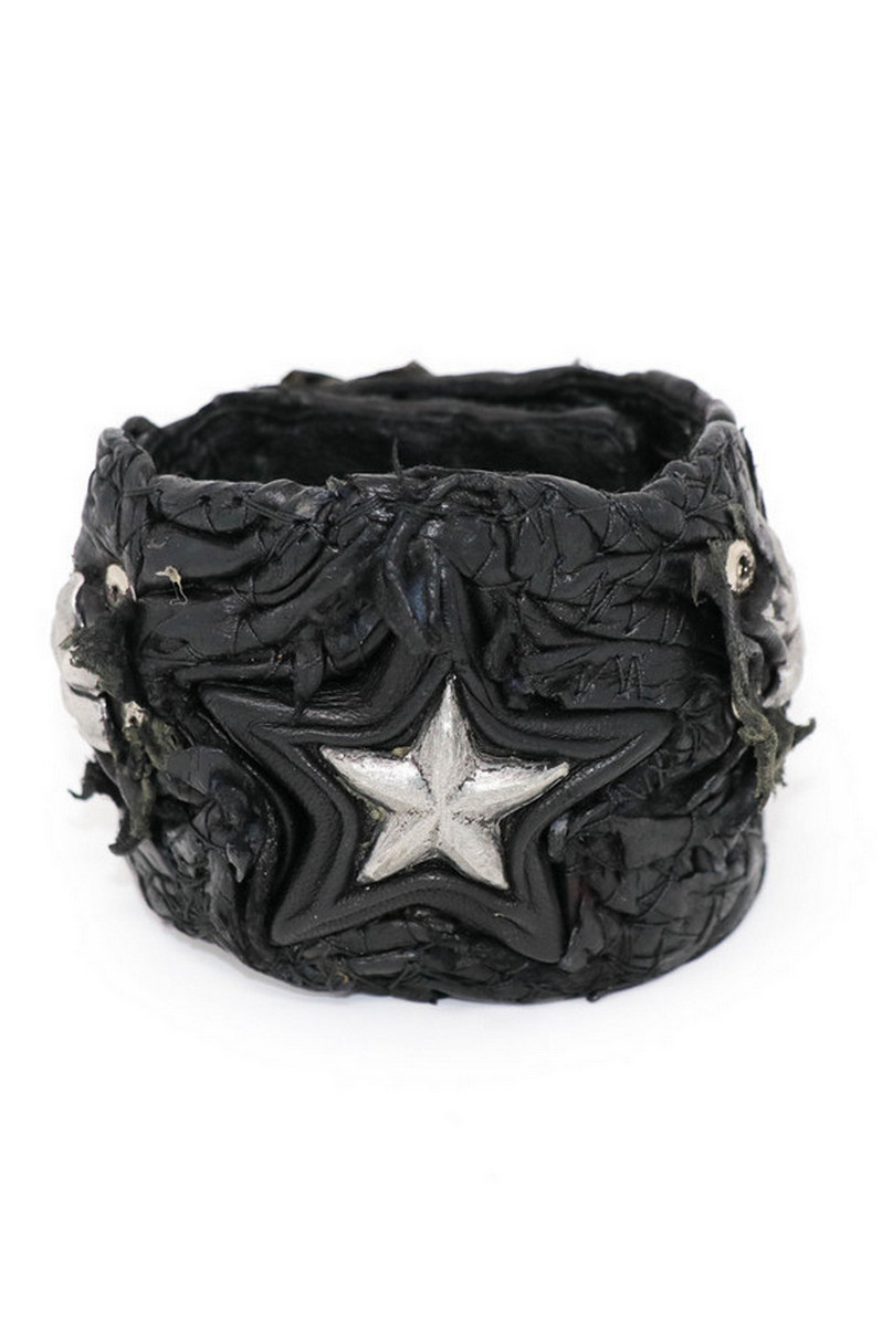 Buy All-Star Black Leather Wristband, Rock Punk bracelet, Stylish Rockstar accessories