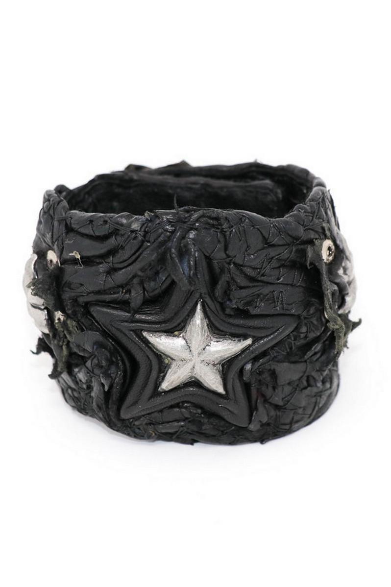 Buy All-Star Black Leather Wristband, Rock Punk bracelet, Stylish Rockstar accessories