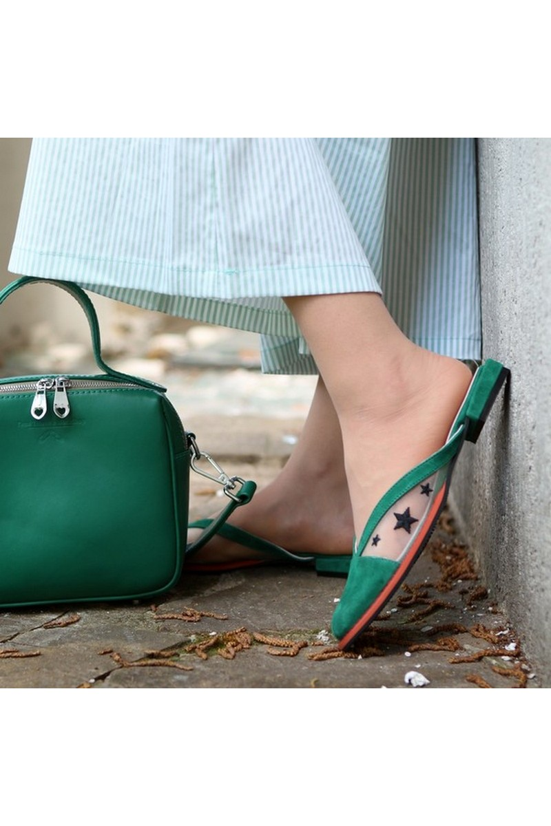 Buy Mules embroidered green leather mesh, square toe women casual summer shoes