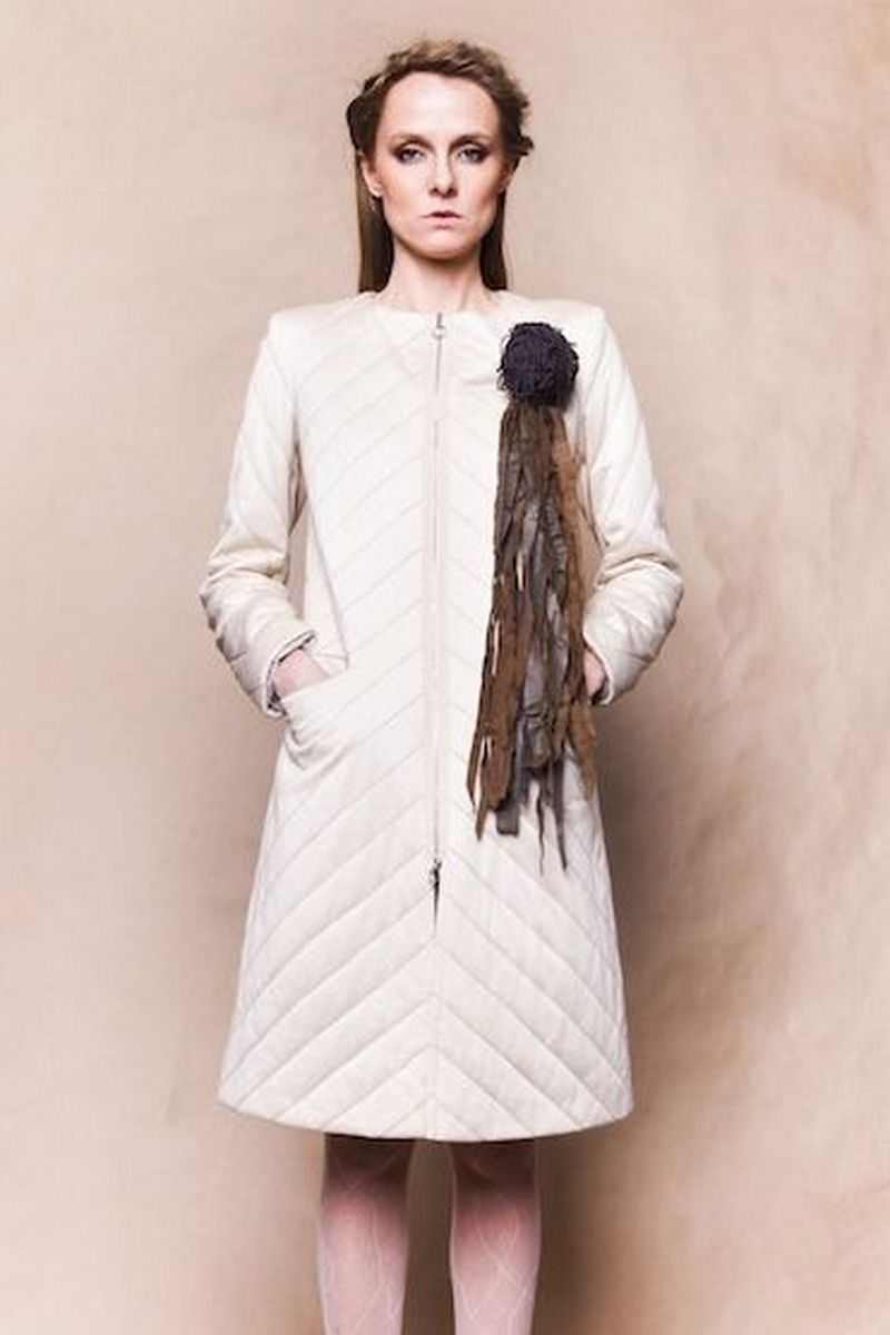 Buy Long design coat women beige jersey quilted to the knees insulation zipper pockets without collar
