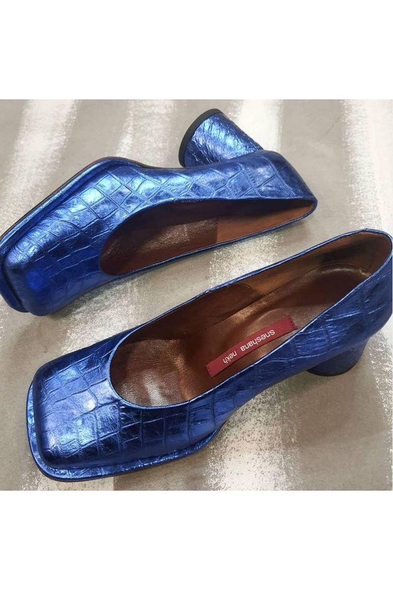 Buy Women's Fashion Block Heel Pump-Low Leather Round Heel Square Toe Blue Crocodile Embossed Shoes