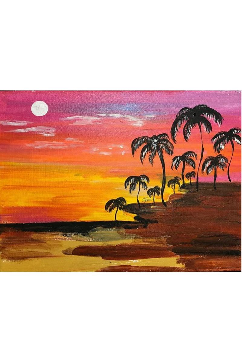 Buy Canvas Wall Art Beach Sunset Palm Tree Nature Canvas Pictures Coast Landscape Canvas Artwork Seascape Ocean Contemporary Wall Art for Living Room Home Office Wall Decor