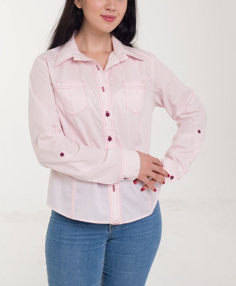 Buy Pink Casual Cotton Women's buttons long sleeve office blouse