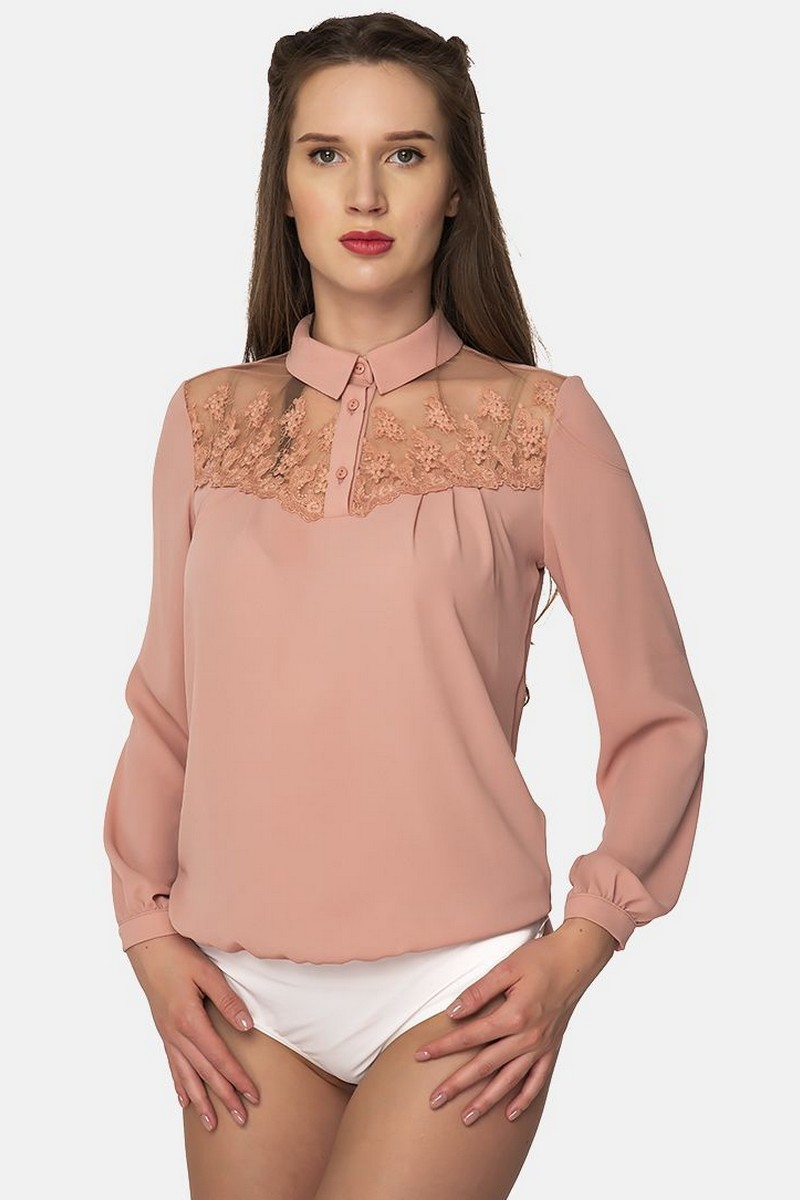 Buy Pink business office elegant lace blouse body, Women`s Long Sleeve blouse bodysuit