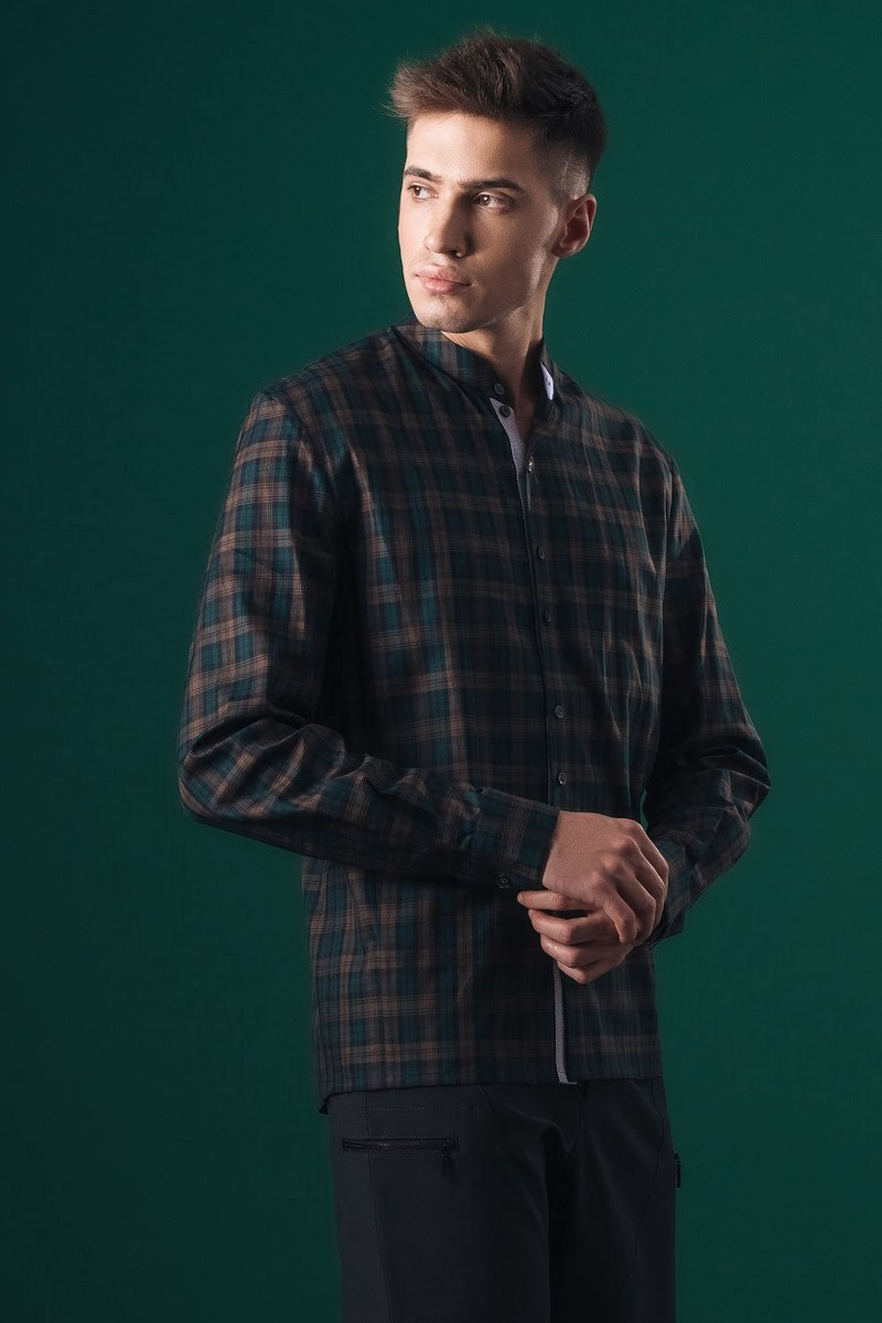 Buy Shirt men`s plaid cotton silk button down dark green with beige into the cell