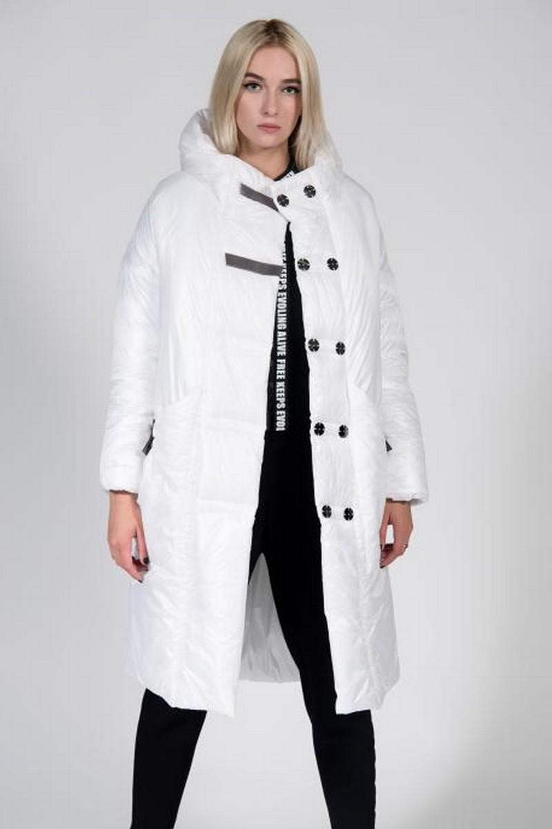 Buy Warm windproof white hooded coat, winter stylish unique designer coat