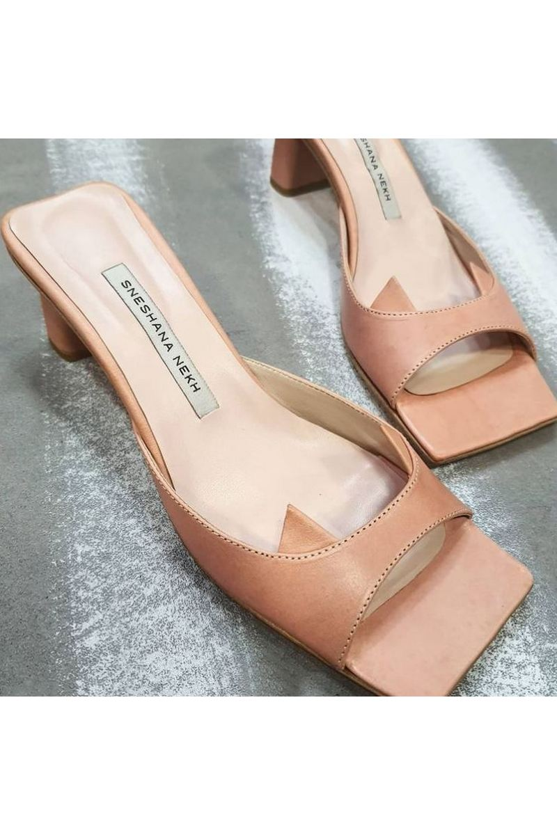 Buy Women Leather Powder Chic Open Square Toe Mules Block Low Mid Heel Backless Dress Summer Shoes