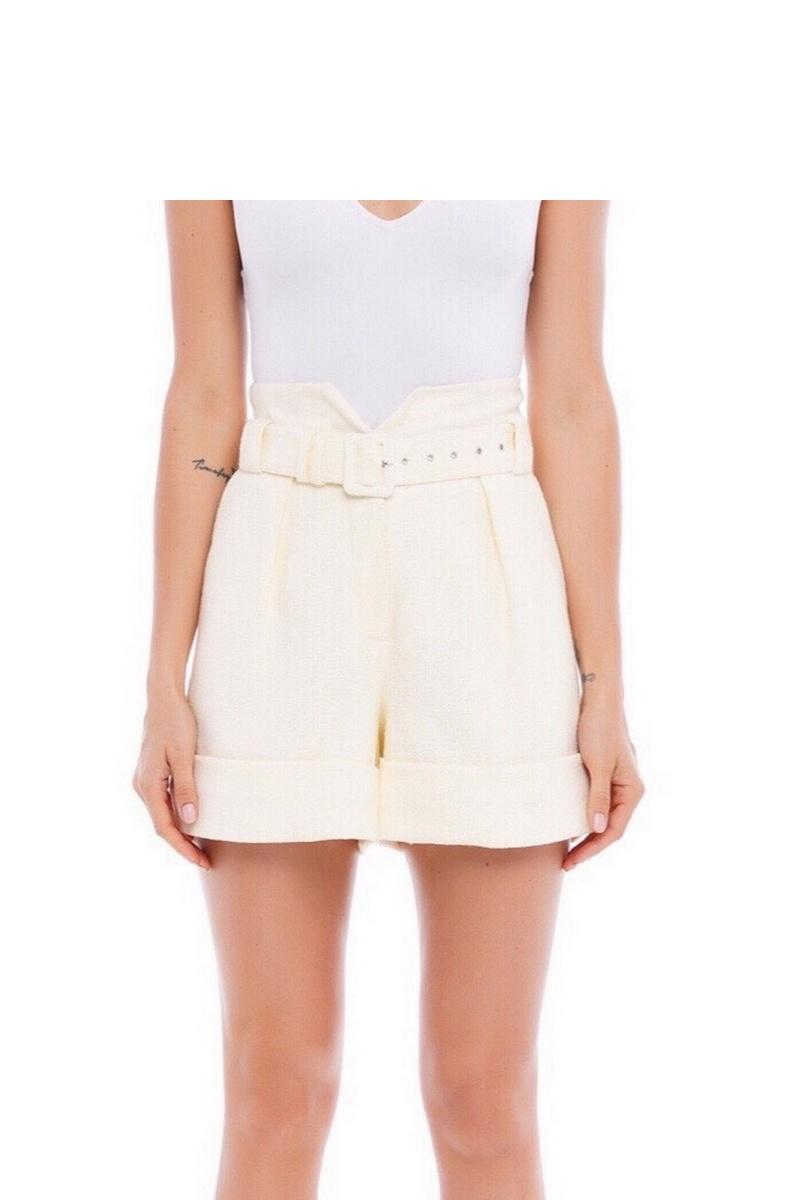 Buy High waist cotton beige belt shorts, Elegant women spring summer short shorts