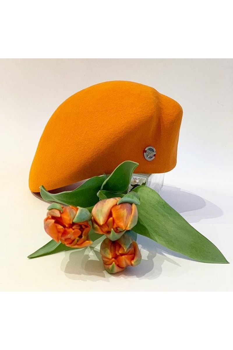 Buy Orange felt women`s stylish beret hat in retro style, Unique designer cap for ladies