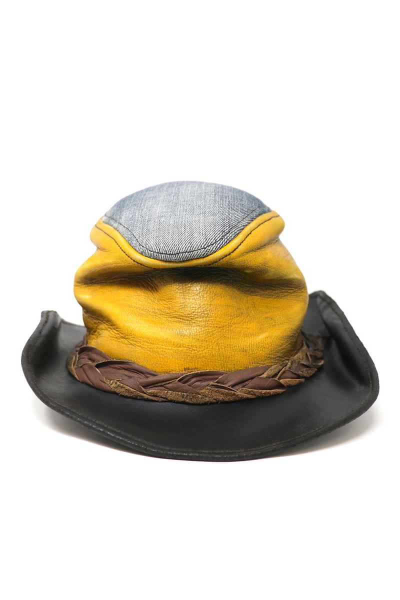Buy Sunny Denim Outdoor Hat, Leather Black/Yellow Handmade Unique Designer Hat