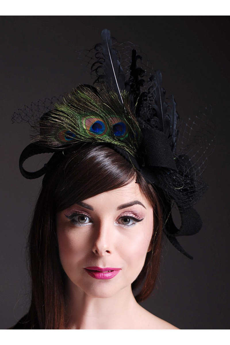 Buy Small design black women evening party felt hat with ostrich feathers and mesh