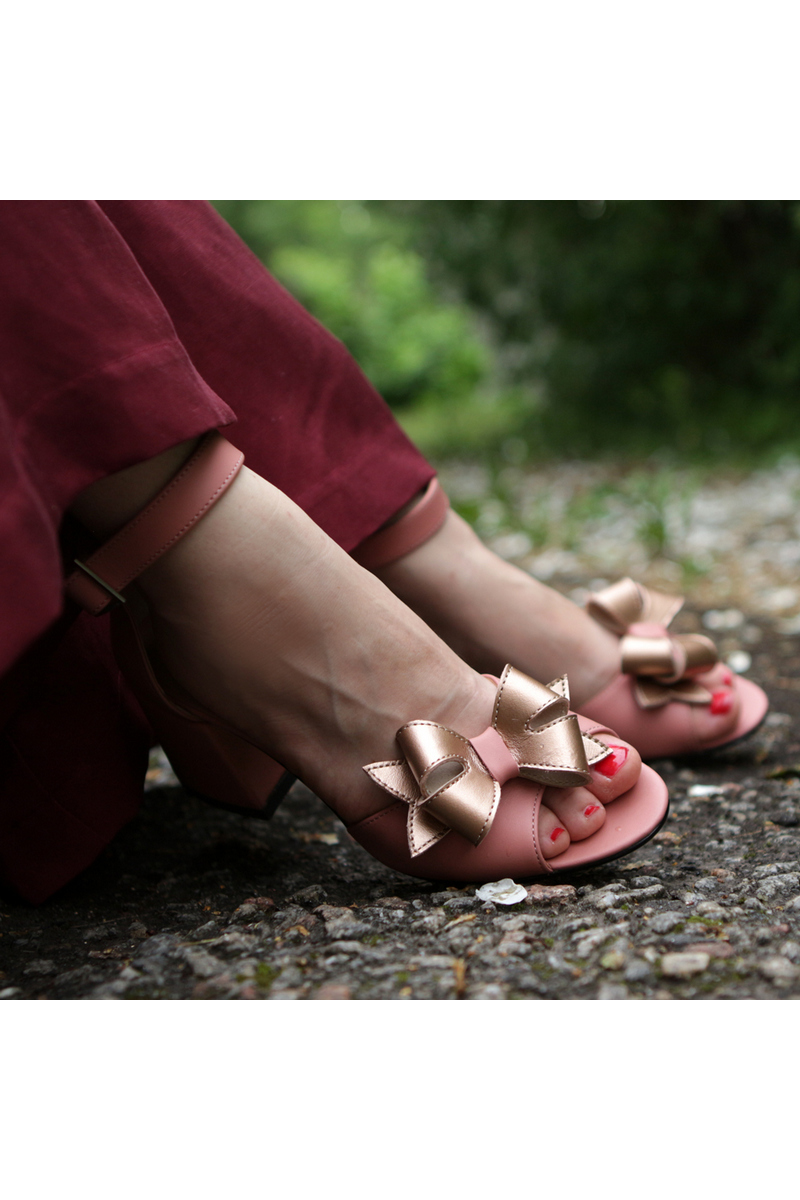 Buy Leather pink sandals with small bow heel vintage style, designer casual women summer shoes