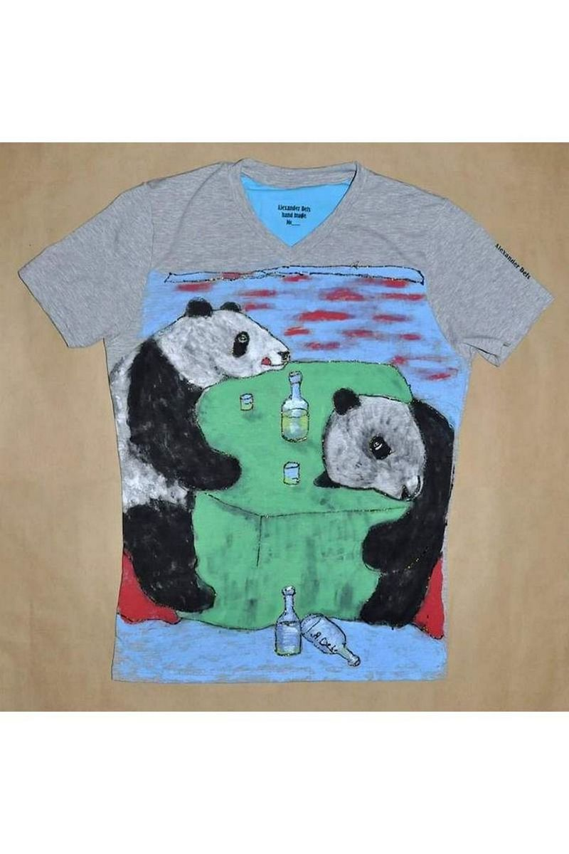Buy Print Gray Cotton Women Men tshirt , Short sleeve Panda tee shirt, Unique stylish t shirt