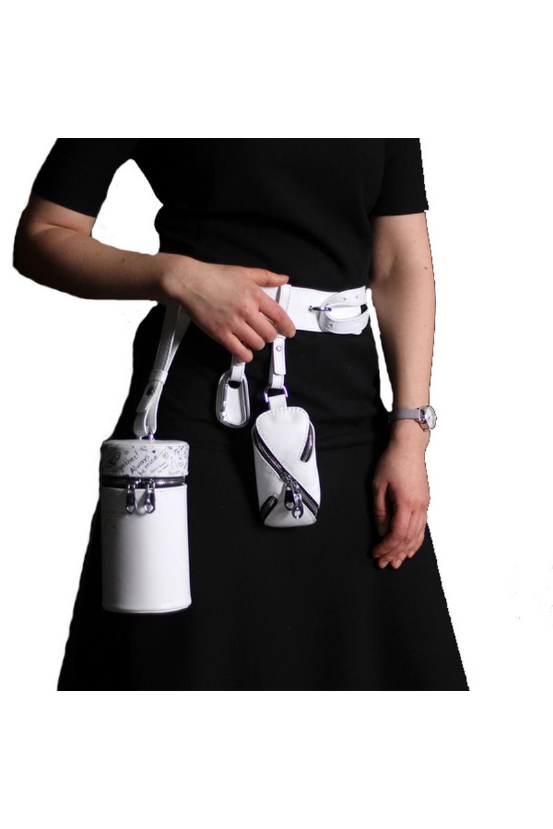 Buy Belt flask bag white leather, unique designer casul women bag