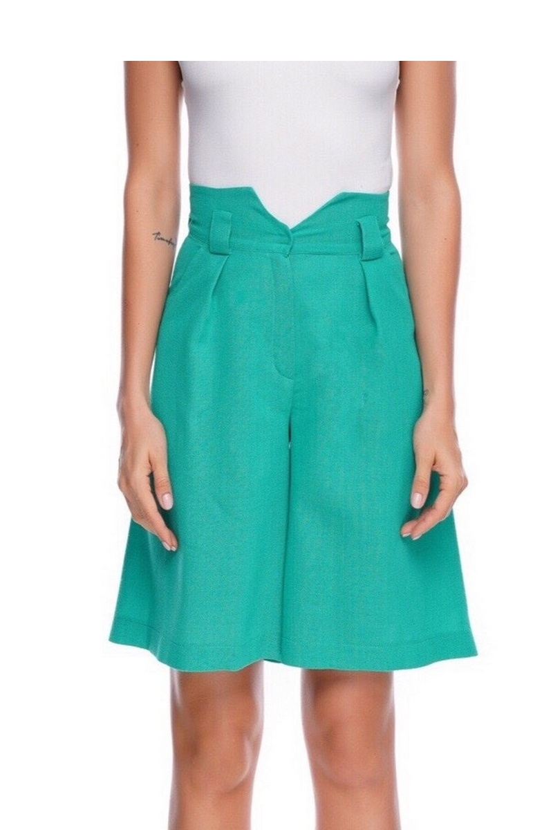 Buy Shorts High Waist Cotton Green, stylish elegant spring summer women casual party shorts