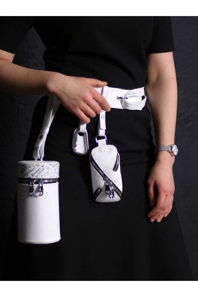 Belt flask bag white leather, unique designer casul women bag