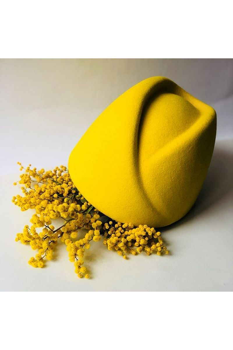 Buy Yellow women's felt hat forage cap in retro style, Designer cap for ladies
