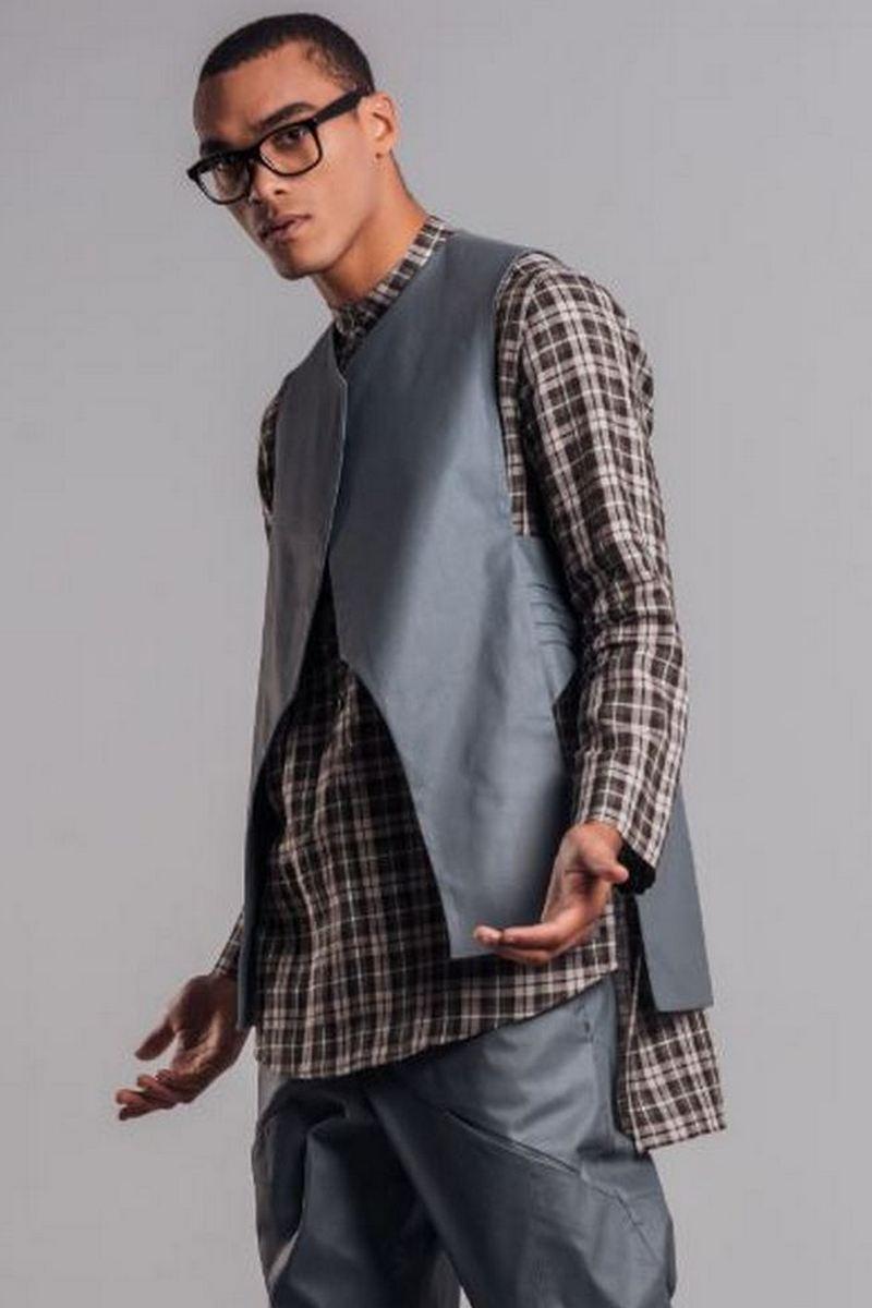 Buy Linen Long-backed Green Men`s Shirt, Long Sleeve Plaid Shirt