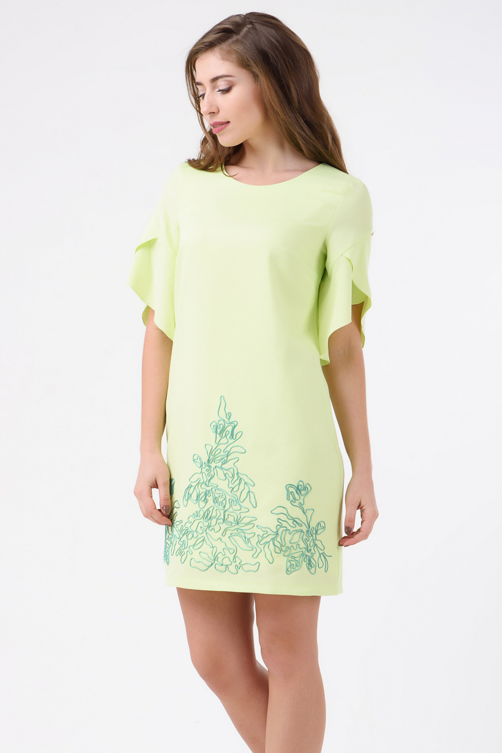 Buy Beautiful elegant green short dress with embroidery, Short sleeve dress with decor