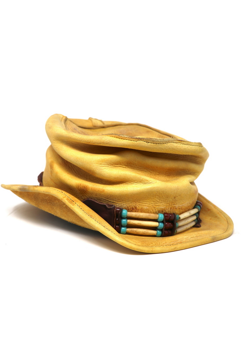 Buy Yellow Leather Western Top Hat, Festival Party Stylish Unique Designer Handmade Hat