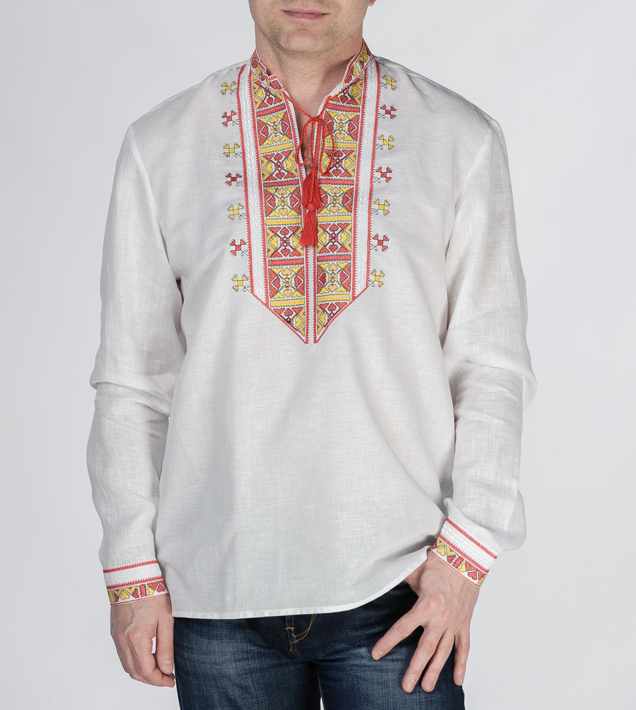 Buy Men's White Linen Embroidered Ukrainian Long Sleeve Shirt, folk boho embroidery Shirt