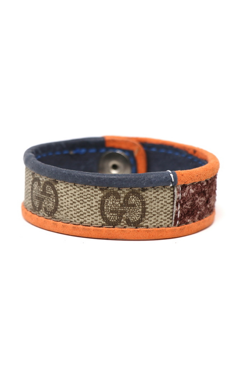 Buy Leather Bordering, Single Row Gucci Wristband/Cuff Stitched Orange, Blue