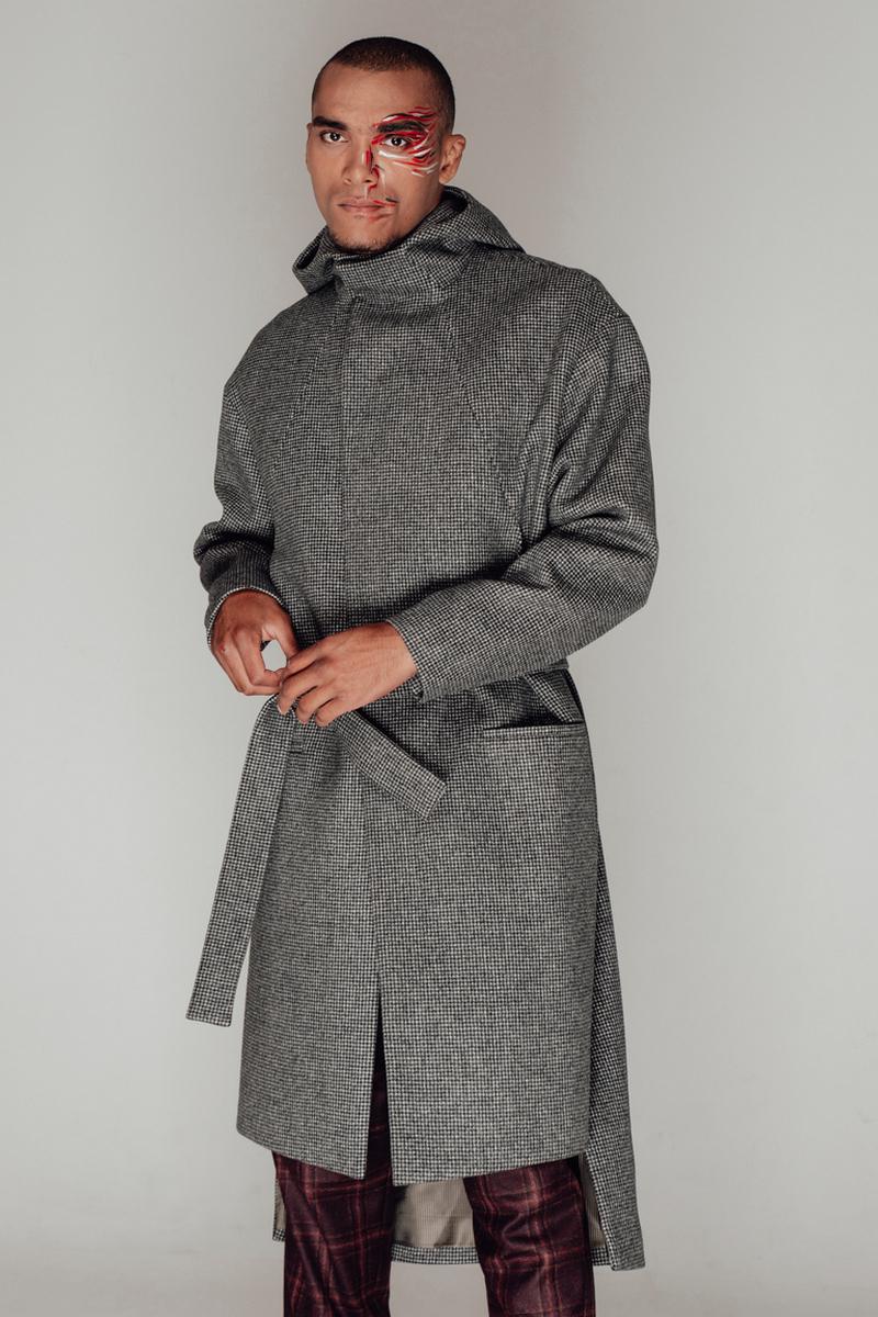 Buy Free silhouette gray hooded men`s wool coat, warm outdoor comfy elegant coat, Fashion Long Style Coat