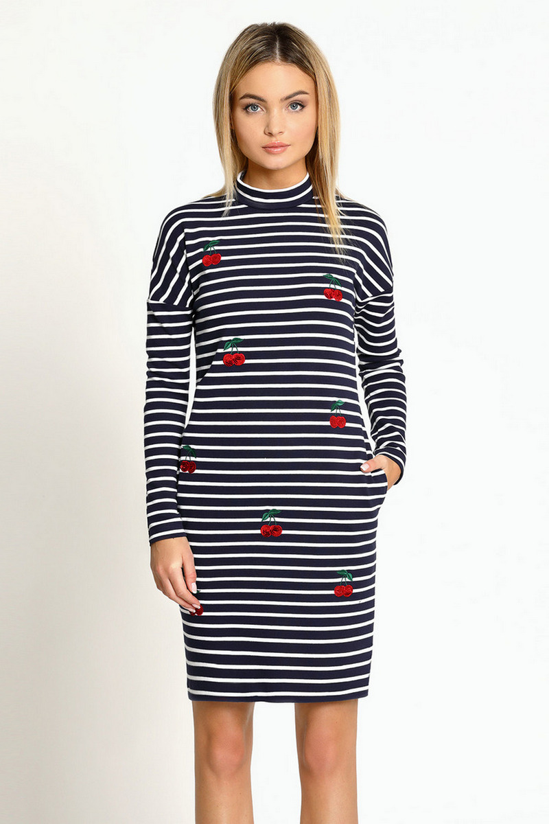 Buy Casual cotton striped with embroidery dress, stylish long sleeve women dress